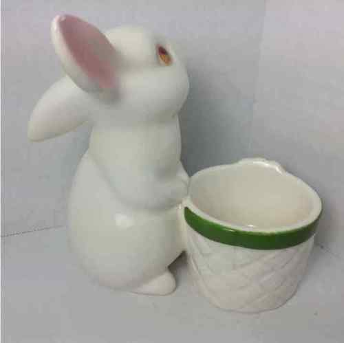 Avon 1980 Porcelain Bunny Rabbit Candle Holder