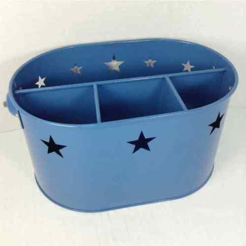 Silverware Blue Stars Caddy w/ Handle Flatware Organizer