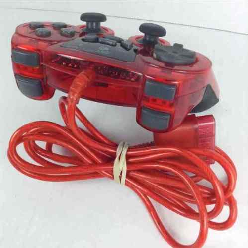 Mad Catz Dual Force Gamepad Controller PS1 PS2 Clear Red Wired Turbo