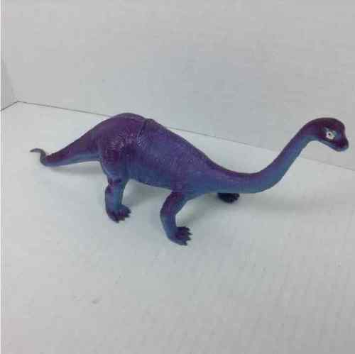 "Vintage 1985 Imperial Toy Dinosaur Diplodocus 11-3/4"" Blue Purple & Blue Figure"