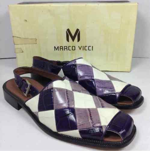 Marco Vicci Mens Size 12 Genuine Leather Loafers Purple & White Checkerboard