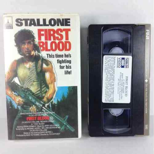 First Blood 1982 Thorn Emi Sylvester Stallone Hard Plastic Cover TVA 1573 VHS Video Tape