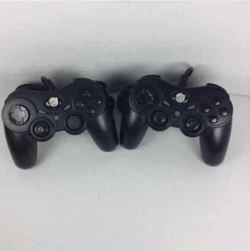 (2) Pelican PS2 Black Wired Controllers