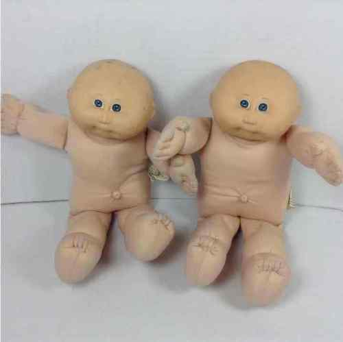 "(2) Cabbage Patch Kids CPK 1978 1982 Baby 16"" Preemie Dolls Bald Blue Eyes No Clothes"