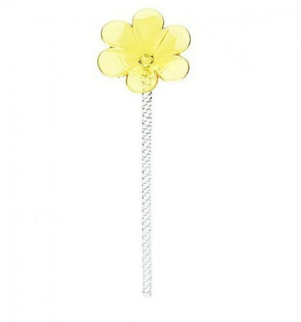 "Waterford Crystal Yellow Pansy Flower 11"" Sculpture"