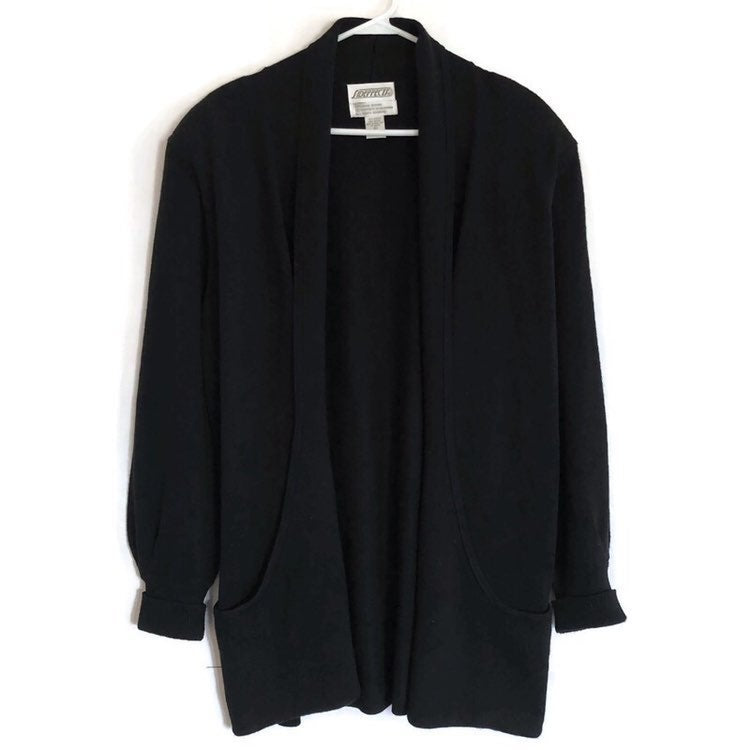Side Effects Black Cotton Blend Long Sleeve Deep Pockets Shoulder Pads Sweater