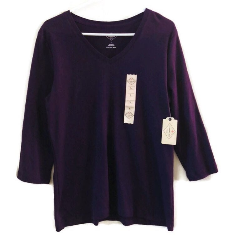 St. John's Bay 3/4 sleeve 100% Cotton V Neck Purple Sensation TEE Top