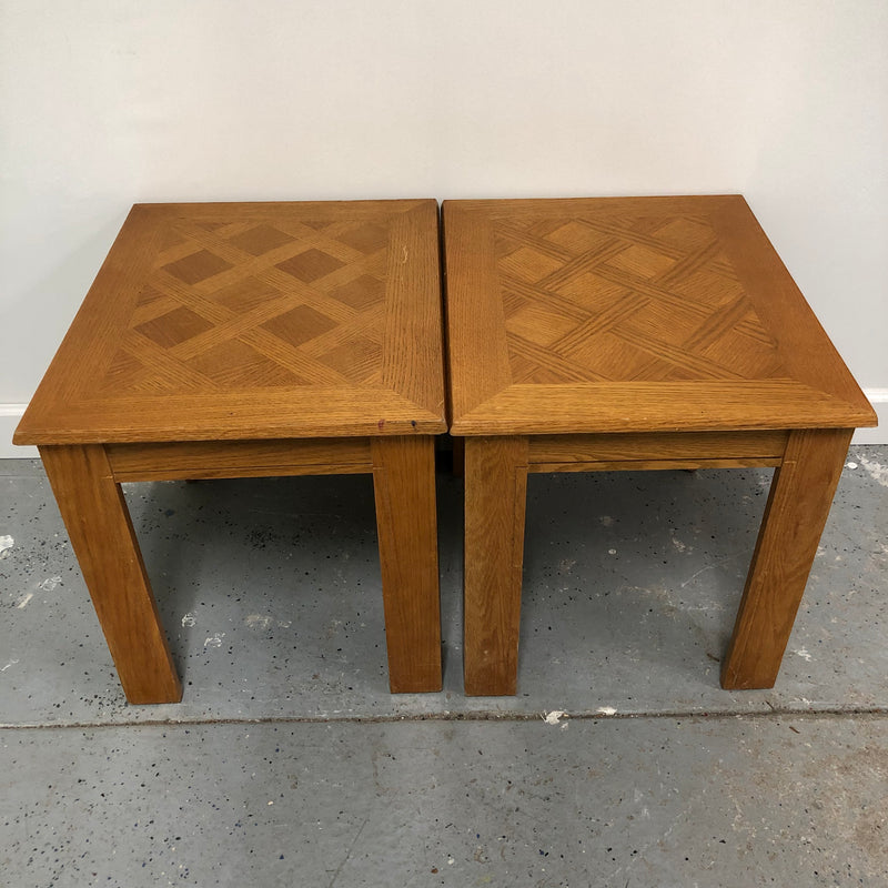 (2) Oak Solid Wood Light Brown Side End Tables