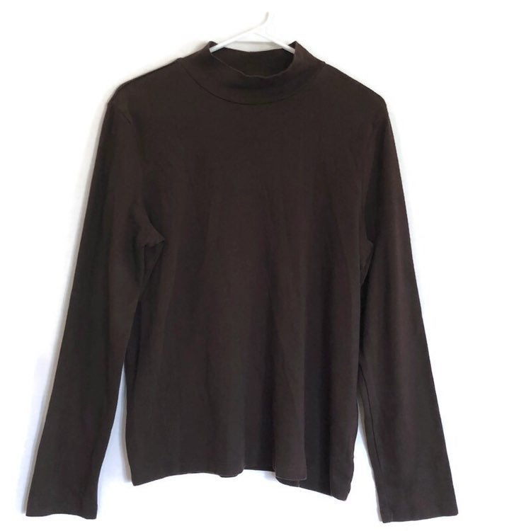 White Stag Womens Brown Mock Turtleneck Long Sleeve Shirt