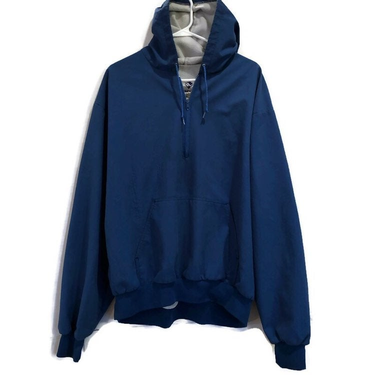 Windless Vintage Blue Quarter Zip Pullover Hooded Jacket