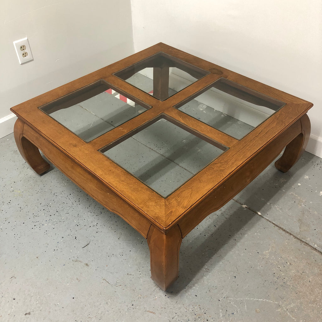 "38"" Square Wood Frame Glass Squares Top Coffee Table"