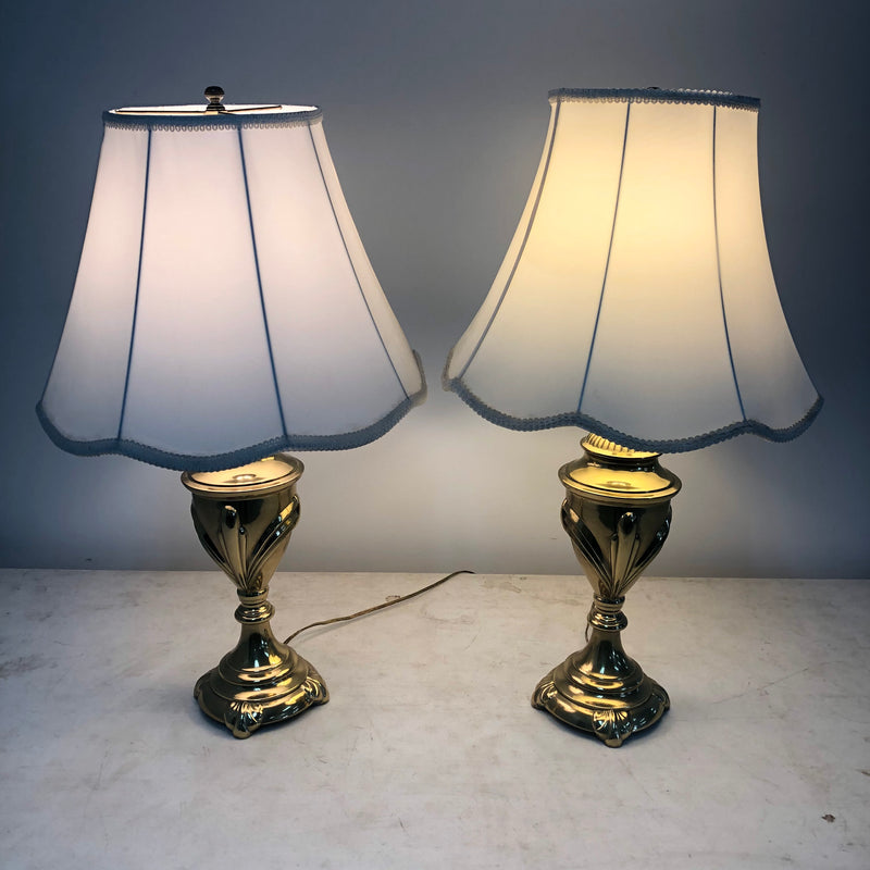 (2) Excelsior Brass Base White Shade Table Lamps