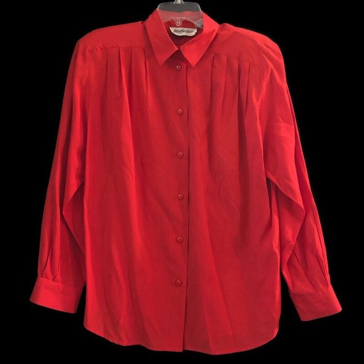 Yves St. Clair Womens Rayon Blouse Long Sleeve Button Down Shoulder Pads Red Shirt