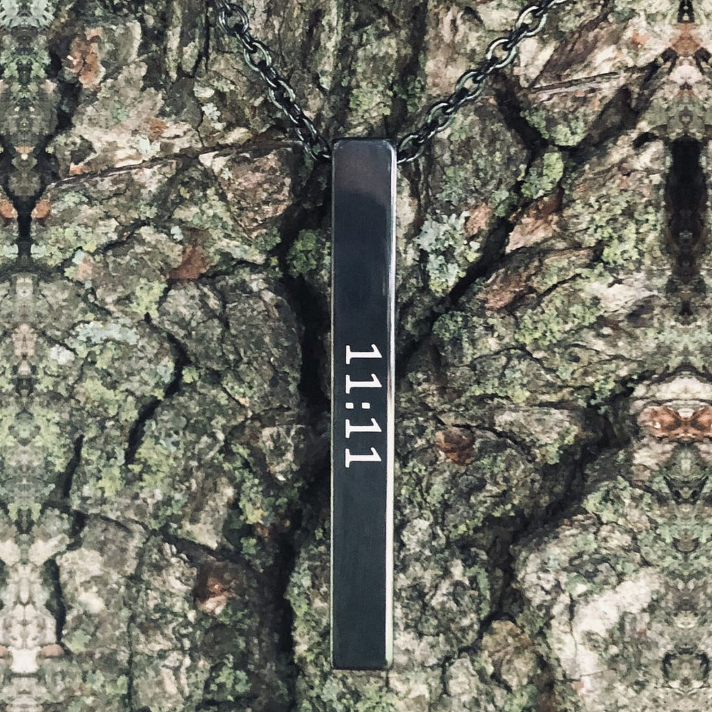 Black Stainless Steel 11:11 Amulet Necklace