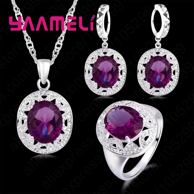 Jewelry Sets 925 Sterling Silver Purple Cubic Zircon Necklace/Earring/Ring