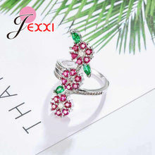 Noval Romantic Colorful Cubic Zirconia Flowers 925 Sterling Silver Finger Rings for Women Girls Wedding Jewelry