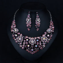 Sumptuous Flower Bridal Wedding Prom Jewelry Purple Crystal Rhinestone Necklace & Earring Set For Women Charm Jewelry