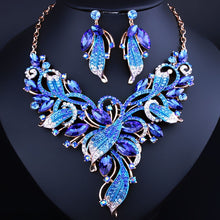 6 Color Luxury Flower Horse Eye Crystal Necklace Earrings Geometric Alloy Gold Link Chain Jewelry Set Costume For Women