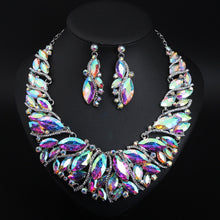 Vintage Statement Crystal Necklace Earrings Set Retro Dubai Bridal Jewelry Sets Women's Party Luxury Big Colorful Jewellery Gift