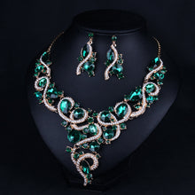 Lovely Irregular Shape Crystal Drop Earrings Necklace Charm Rhinestone Bridal Jewelry Sets For Women Wedding Accessory