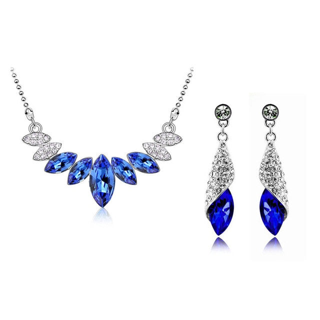 Wedding Bridal Crystal Silver Color Water Drop Pendant Necklace Earrings Jewelry Sets for Women Party Christmas Gift
