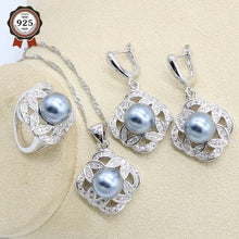 Gray Pearl Silver Color Wedding Jewelry