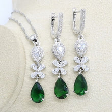 Green Cubic Zirconia Jewelry Set for Women Silver Color