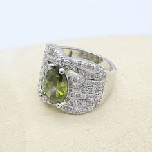 Olive Green Zircon  Silver Color Jewelry Set