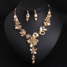 Luxury Big Blue Water Drop Flower Crystal Bridal Jewelry Sets Women Statement Gold Color Necklace Earrings Set For Wedding