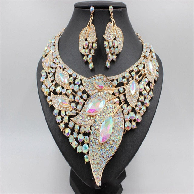 Luxury Crystal Wedding Bridal Jewelry Sets Gold Color Leaf Rhinestone Wedding Jewelry Necklace Sets For Women Statement Jewelry