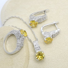 Geometric Yellow Zircon Silver Color Jewelry Set for Women with Bracelet Earring Necklace Pendant Ring Birthday Gift