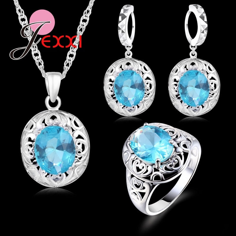 Sterling Silver Pendants Necklaces Earring Ring Set