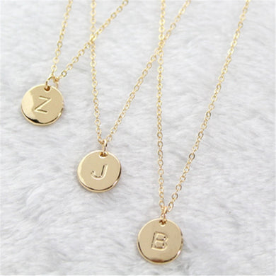 2020 Fashion 26 Letters Pendant Necklace For Woman Cute Gold Color Sequins Alloy Round Necklace Wedding Jewelry