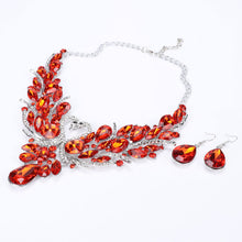 Crystal Bridal Jewelry Sets Gold Color Swan Pendant Necklace Women Gift Party Wedding Prom Necklace Earring Accessories
