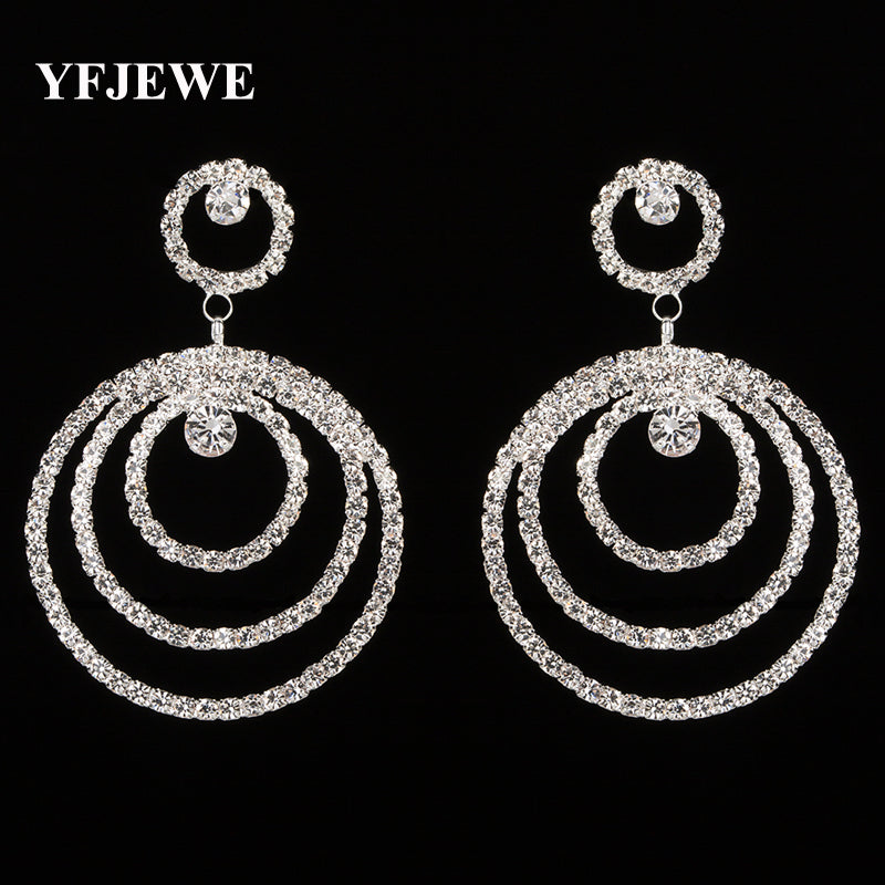 Drop Earrings Elegant Three-circle Stacked
