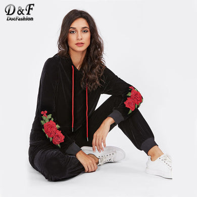 3D Flower Patch Velvet Hoodie Sweatpants Set