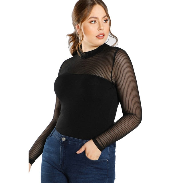 SHEIN Black Plus Size Blouse Shirt For Women Fashion Transparent Sexy Mesh Female blouse Autumn Solid Girls Long Blouse