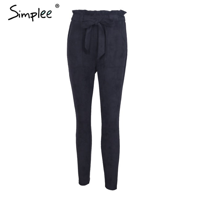 Simplee Suede high waist pencil pants capris