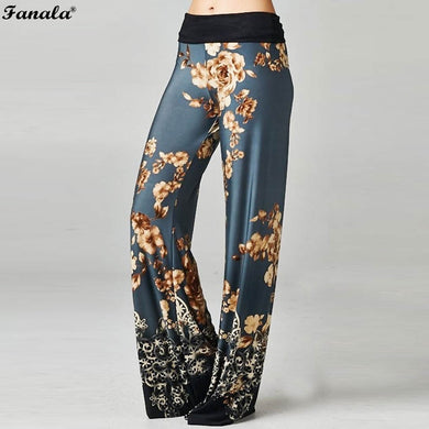 FANALA Pants Women Trousers 2018 Slacks Floral Print Full Length Wide Leg Pants Elastic High Waist Drawstring Lace Up Vadim