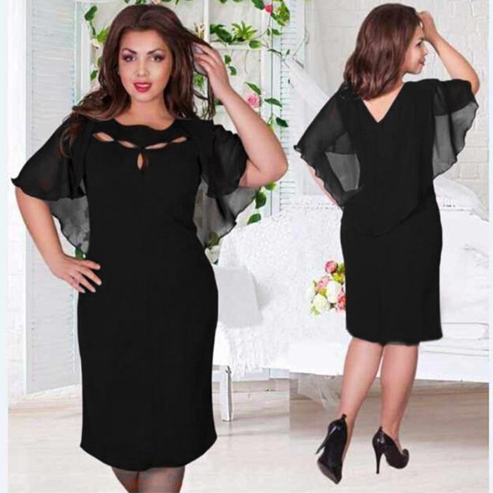 Fashion Women Casual Solid Chiffon Loose O-Neck Short Sleeve Evening Party Dress