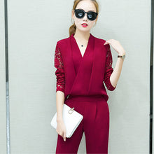 Fashion New 2018 Women 2 Piece Set Women Suit Female Long Sleeve Lace Work Clothes Trousers Two-Piece Sets Foot Trousers S7D008A