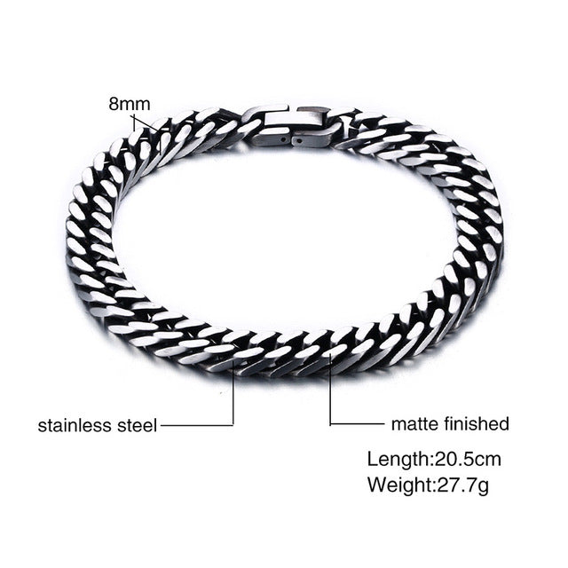 Vnox Men Bracelet Retro Silver Color Male Jewelry Stainless Steel Link Chain 8