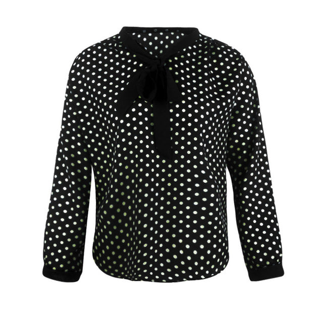 Polka Dot Women Chiffon Blouse Plus Size Shirt Women Tops Casual Bowknot V Neck Blusas Femininas Camisas Mujer Wholesale noJA26
