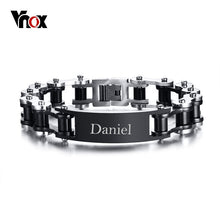 Vnox Free Engraving Punk Bike Chain ID Bracelet For Men Stainless Steel Biker Cycle Links Male Jewelry Masculina  Pulseira