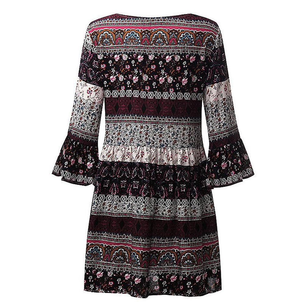 Women Floral Print Three Quarter Sleeve Boho Dress Ladies Evening Party Dress