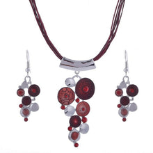Vintage Enamel Jewelry Set Multilayer Leather Chain Hollow Round Gem Silver Pendant Necklace Earrings Summer Jewelry Sets Women