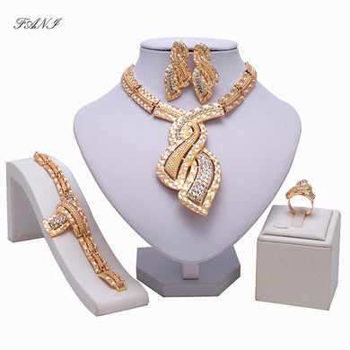 Fani Fashion African beads Jewelry Sets Women customer nigerian Wedding Dubai Gold Color jewelry set Crystal Bridal Accessories