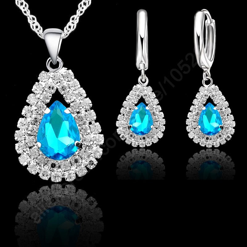 JEXXI Light Blue S925 Sterling Silver Jewelry Sets  Singapore Silver Chain Water Drop Necklace Hoop Earring Set Ear Lever Back
