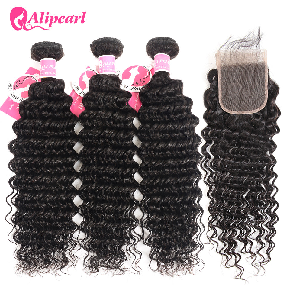 Ali Pearl Hair Deep Wave Bundles With Closure Human Hair Brazilian Hair Weave 3 Bundles With Closure Remy Hair Extension