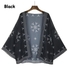 Women Black Short Kimono Cardigan Tops Blouse Floral Print Boho Chiffon Top Plus Size 2018 Summer Hot Sale